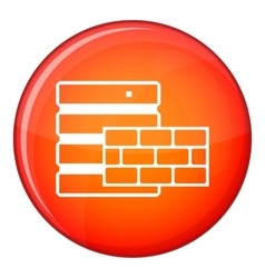 Database and brick wall icon flat style vector image