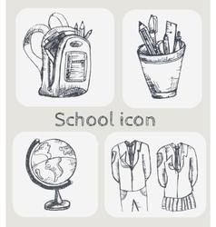 Hand drawn school icon set vector image vector image