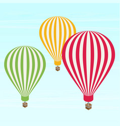 isometric air balloons in the sky flat vector image
