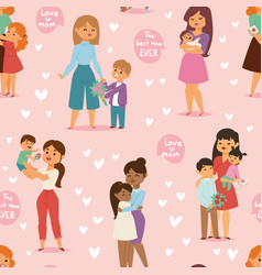 mother and children with flower bouquet mothers vector image