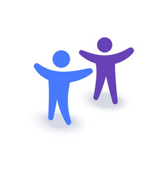 two people with hands up logo or icon family vector image