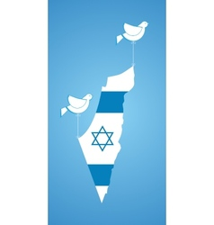 white dove holding map of Israel vector image