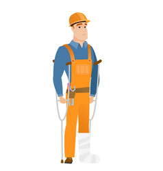 Injured builder with broken leg vector
