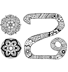 letter Z decorated in the style of mehndi vector image