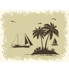 Sea Landscape with Palms and Ships Silhouettes vector image vector image