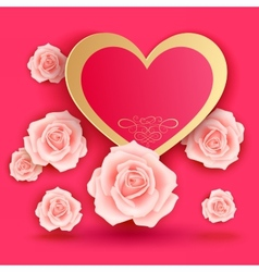 Valentines day card with roses vector image