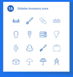 16 accessory icons vector