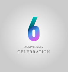 6 year anniversary celebration template design vector
