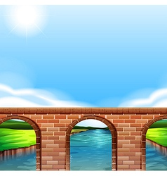 A bridge under the bright sun vector