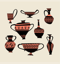 A set images greek traditional vases vector