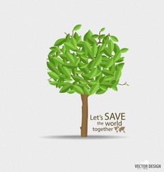 Abstract tree with green leaves vector image