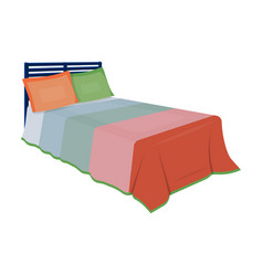 baby bed with colorful blanketbed for sleeping vector image
