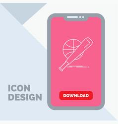 baseball basket ball game fun line icon in mobile vector image