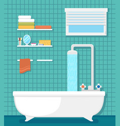 Bathroom interior with bath and shower vector
