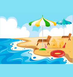 Beach scene with chairs and umbrellas vector