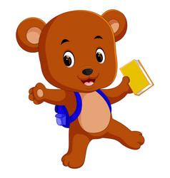bear go to school with backpack vector image