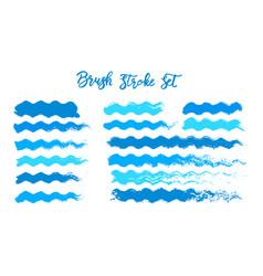 blue brush stroke waves set hand drawn vector image
