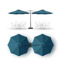 Blue Double Outdoor Bar Pub Round Parasol vector