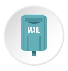 Blue square post box icon circle vector