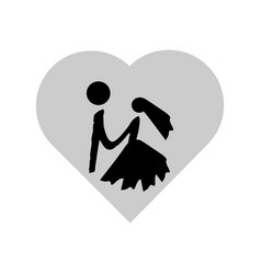 bride and groom hold hands on background of vector image