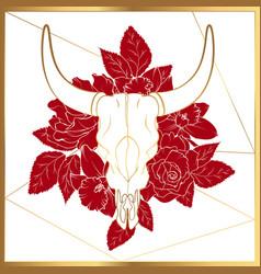 Bull cow dead animal head skull bones horns vector