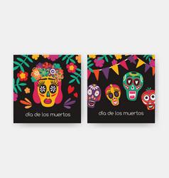 Bundle of square cards with dia de los muertos vector