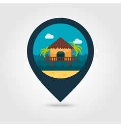 Bungalow with palm trees pin map icon Vacation vector