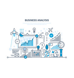 Business analysis data analytics and research vector