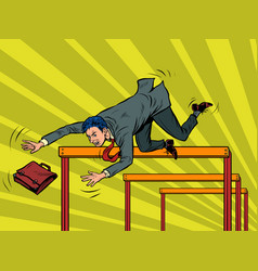 businessman falling from a barrier vector image