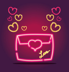 Card letter with hearts neon icons decoration vector
