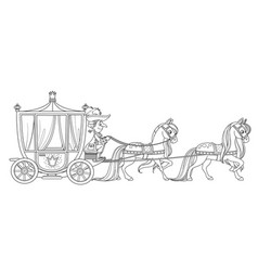 Carriage pulled horses with coachman vector