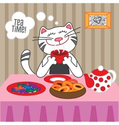 Cat drinking hot tea with sweets and dryers vector