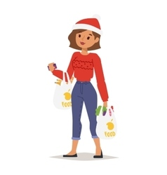 Christmas shopping girl vector image