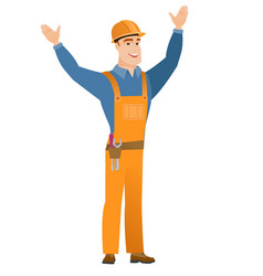 Constructor standing with raised arms up vector