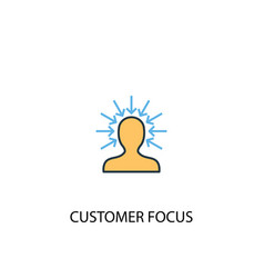 Customer focus concept 2 colored icon simple blue vector