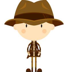 Cute cartoon adventurer vector