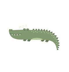 cute sleeping alligator isolated element funny vector image