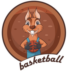 Cute squirrel animal playing basketball vector