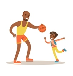 Dad paying basketball with son loving father vector