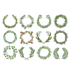 decorative flower wreaths set romantic blossom vector image