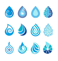 drops icons water splashes abstract symbols for vector image