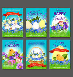 easter egg rabbit chicken greeting card template vector image
