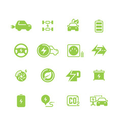 Electrical charge symbols and electric car eco vector