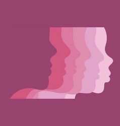 Female profiles on gradient colors background vector