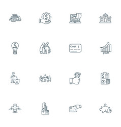 finance icons line style set with bank coins vector image