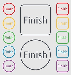 Finish sign icon Power button Symbols on the Round vector
