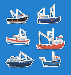Fishing boats side view isolated labels set vector