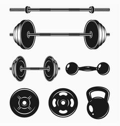 Fitness equipment elements vector