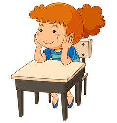girl sitting at the desk vector image vector image