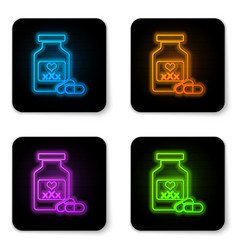 glowing neon medicine bottle with pills for vector image